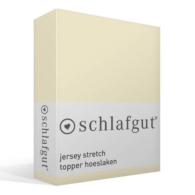 Schlafgut jersey stretch topper hoeslaken - 95% gebreide katoen - 5% elastan - 1-persoons (90/100x190/220 cm) - Ecru