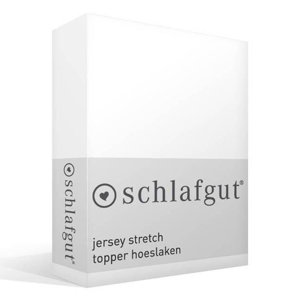 Schlafgut Jersey stretch topper hoeslaken - 95% gebreide katoen - 5% elastan - 2-persoons (120/130x200/220 cm) - Wit
