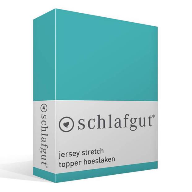 Schlafgut jersey stretch topper hoeslaken - 95% gebreide katoen - 5% elastan - 1-persoons (90/100x190/220 cm) - Blauw