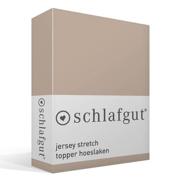 Schlafgut jersey stretch topper hoeslaken - 95% gebreide katoen - 5% elastan - 2-persoons (140/160x200/220 cm) - Taupe