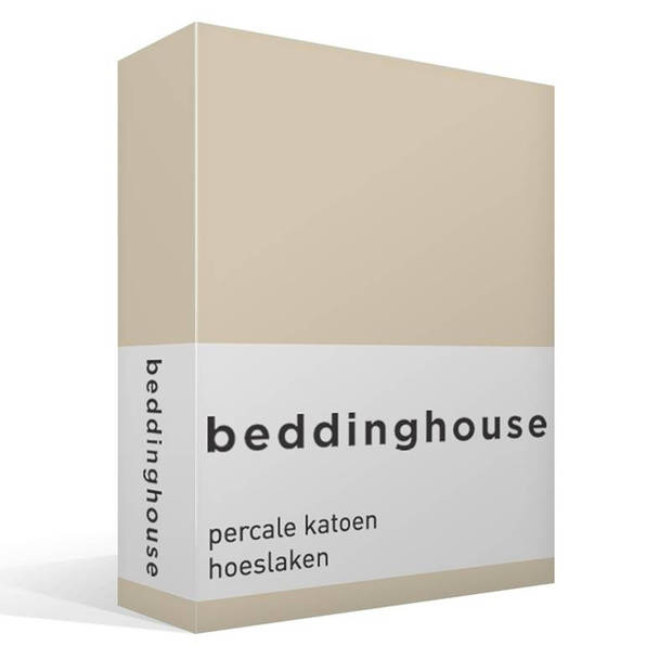 Beddinghouse percale katoen hoeslaken - 100% percale katoen - Lits-jumeaux (180x200 cm) - Natural