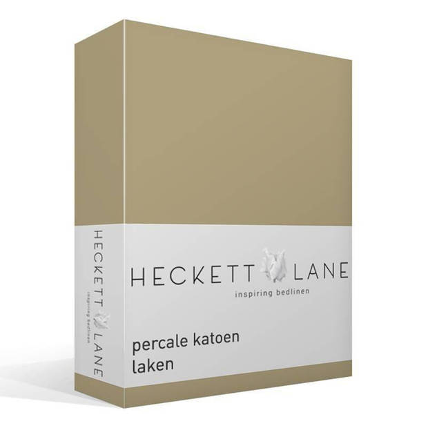 Heckett & Lane Heckett & Lane percale katoen laken - 100% percale katoen - Lits-jumeaux (260x260 cm) - Zand