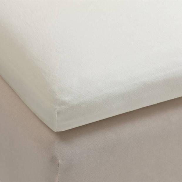 Beddinghouse jersey topper hoeslaken - 100% gebreide jersey katoen - Lits-jumeaux (160x200/220 cm) - Off white