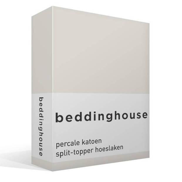 Beddinghouse percale katoen split-topper hoeslaken - 100% percale katoen - Lits-jumeaux (160x210/220 cm) - Off white