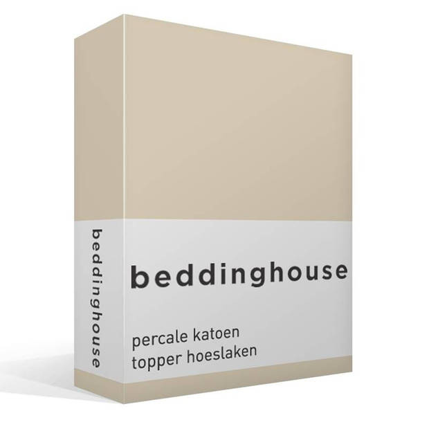 Beddinghouse percale katoen topper hoeslaken - 100% percale katoen - Lits-jumeaux (160x200 cm) - Natural