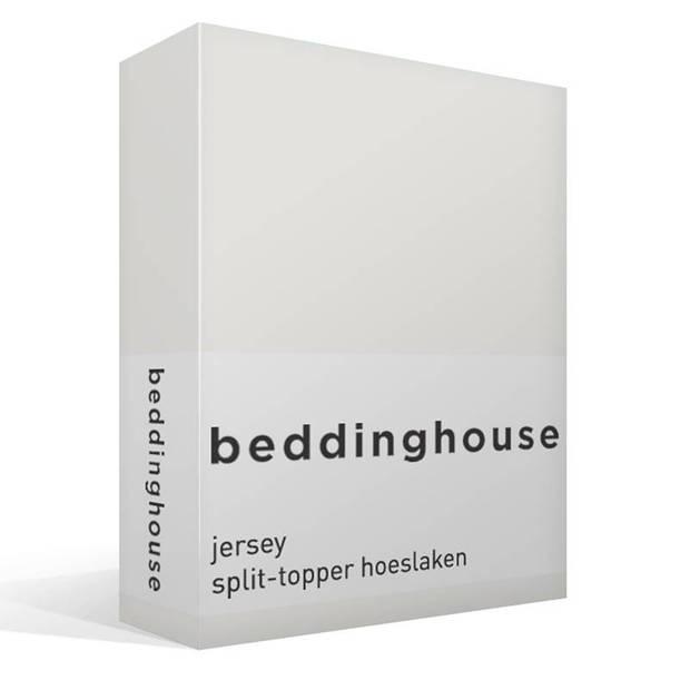 Beddinghouse jersey split-topper hoeslaken - 100% gebreide jersey katoen - Lits-jumeaux (200x200/220 cm) - Off white