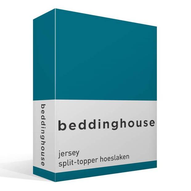 Beddinghouse jersey split-topper hoeslaken - 100% gebreide jersey katoen - 2-persoons (140x200/220 cm) - Sea Green