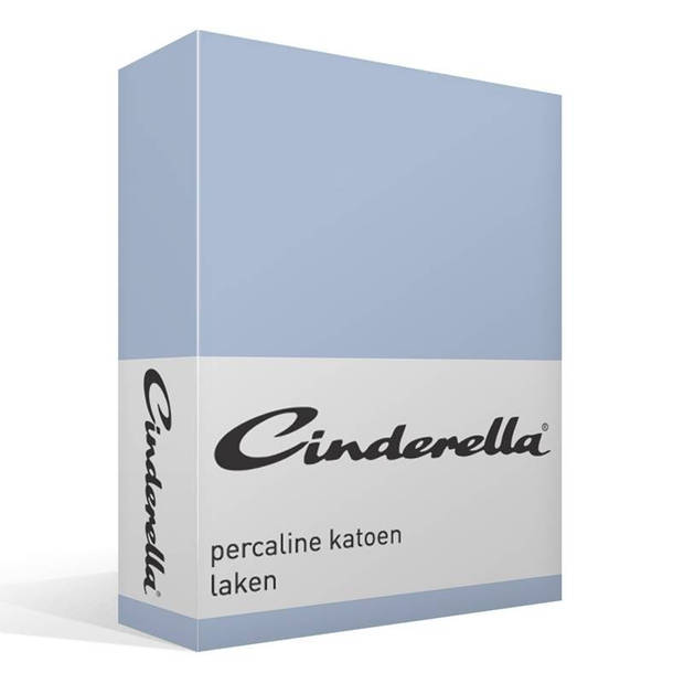 Cinderella Basic percaline katoen laken - 100% percaline katoen - 2-persoons (200x260 cm) - Blauw
