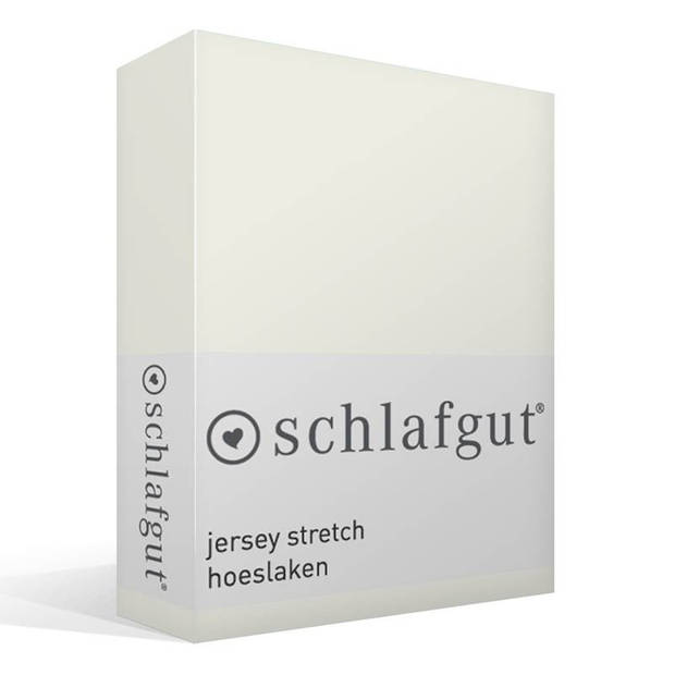 Schlafgut jersey stretch hoeslaken - 95% gebreide jersey katoen - 5% elastan - 2-persoons (120/130x200/220 cm) - Wolwit