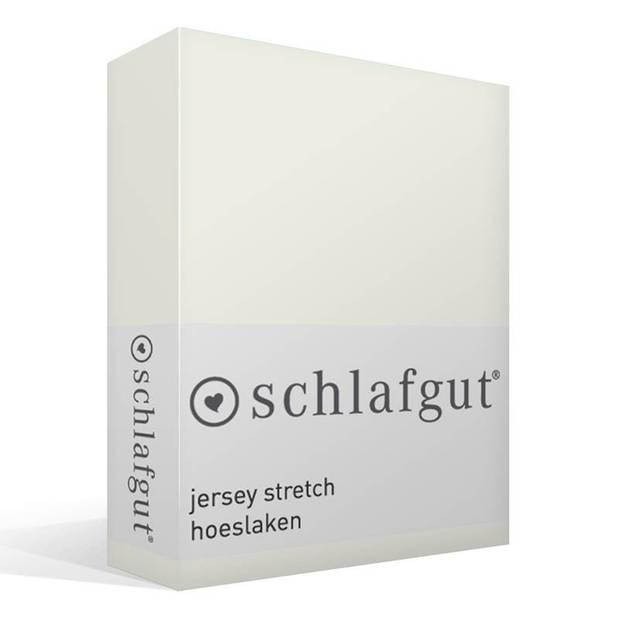 Schlafgut jersey stretch hoeslaken - 95% gebreide jersey katoen - 5% elastan - 1-persoons (90/100x190/220 cm) - Wolwit