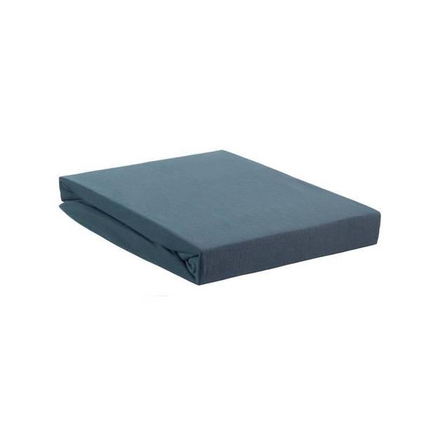 Beddinghouse jersey lycra topper hoeslaken - 95% gebreide katoen - 5% lycra - Lits-jumeaux (180/200x200/220 cm) - Blauw