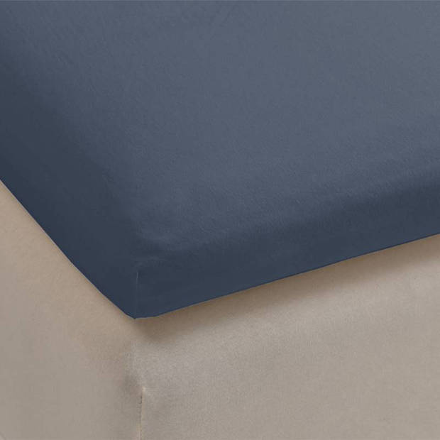 Beddinghouse jersey lycra topper hoeslaken - 95% gebreide katoen - 5% lycra - 2-persoons (140/160x200/220 cm) - Blauw