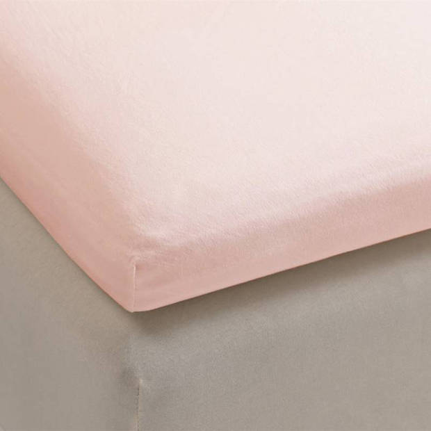 Beddinghouse jersey lycra topper hoeslaken - 95% gebreide katoen - 5% lycra - 1-persoons (70/80x200/220 cm) - Light Pink