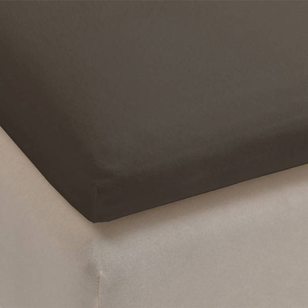 Beddinghouse jersey lycra topper hoeslaken - 95% gebreide katoen - 5% lycra - 1-persoons (90/100x200/220 cm) - Warm grey