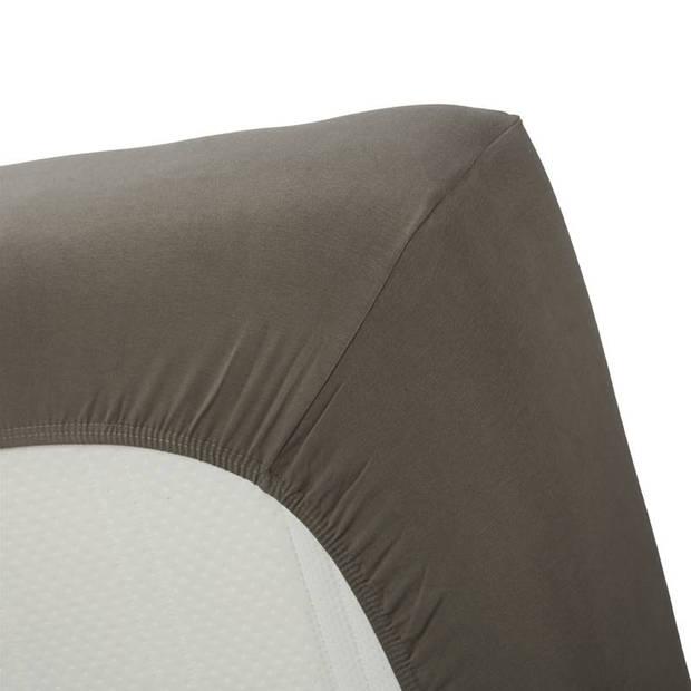 Beddinghouse jersey lycra hoeslaken - 95% gebreide katoen - 5% lycra - Lits-jumeaux (180/200x200/220 cm) - Warm grey