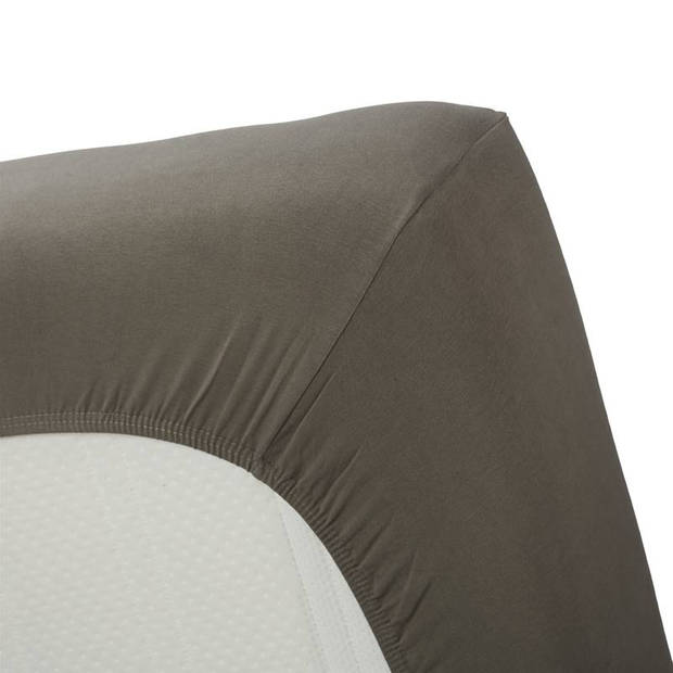 Beddinghouse jersey lycra hoeslaken - 95% gebreide jersey katoen - 5% lycra - 1-persoons (70/80x200/220 cm) - Warm grey