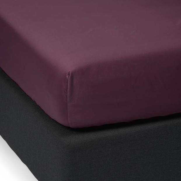 Essenza Satin hoeslaken - 100% katoen-satijn - 1-persoons (90x200 cm) - Marsala