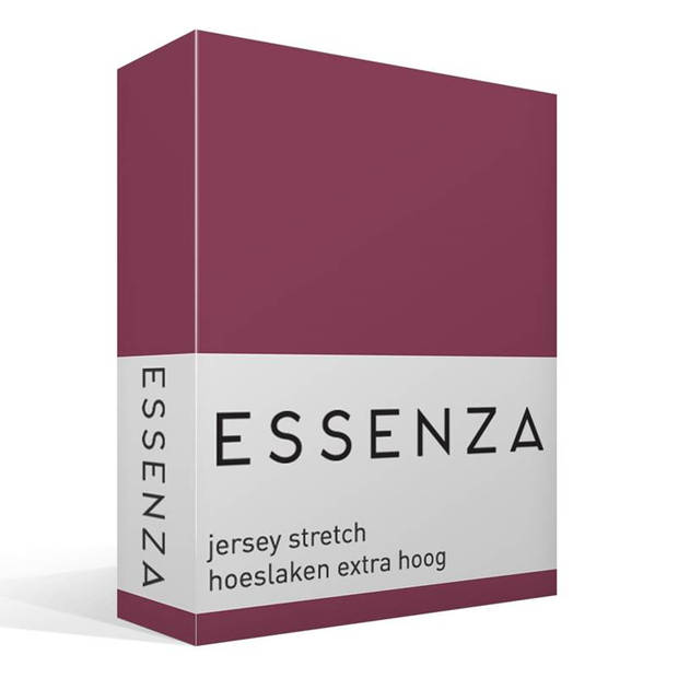 Essenza Premium jersey hoeslaken extra hoog - 97% gebreide katoen - 3% elastan - 1-persoons (90/100x200/220 cm) - Paars