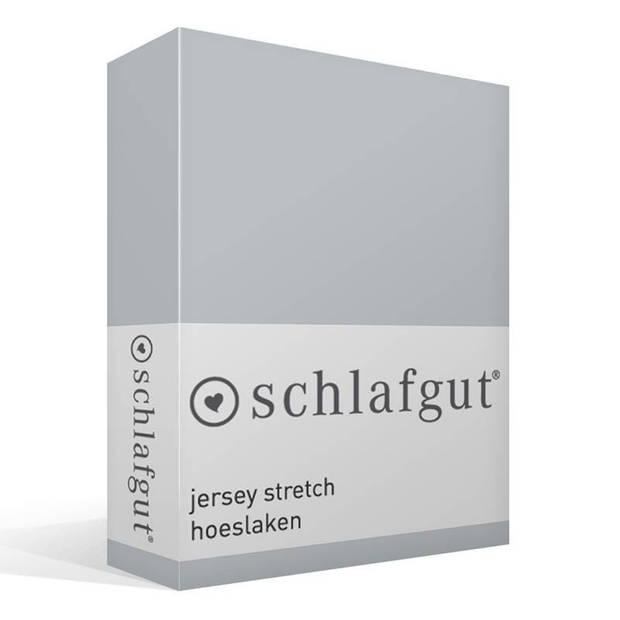 Schlafgut jersey stretch hoeslaken - 95% gebreide jersey katoen - 5% elastan - 1-persoons (90/100x190/220 cm) - Platin