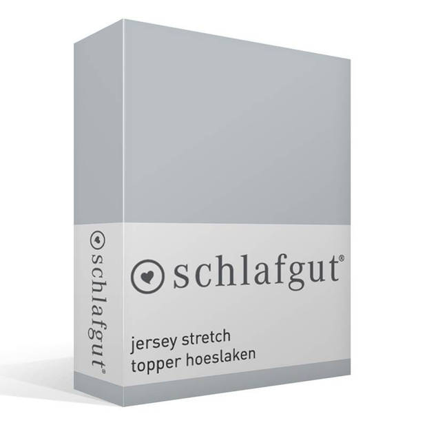 Schlafgut Jersey stretch topper hoeslaken - 95% gebreide katoen - 5% elastan - 1-persoons (90/100x190/220 cm) - Platin