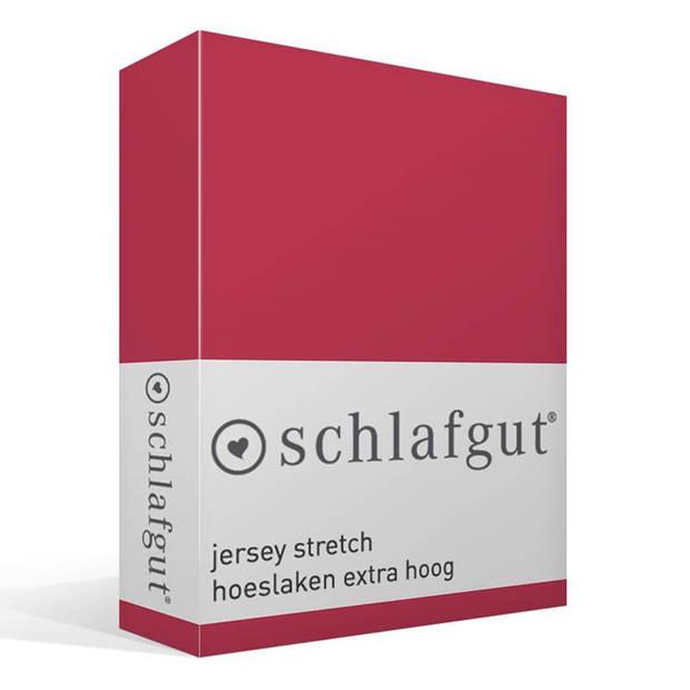 Schlafgut Jersey stretch hoeslaken extra hoog - 95% gebreide katoen - 5% elastan - 1-persoons (90/100x190/220 cm) - Rood