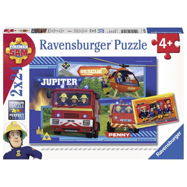 Ravensburger puzzel waterloop met brandweerman Sam - 2 x 24 stukjes