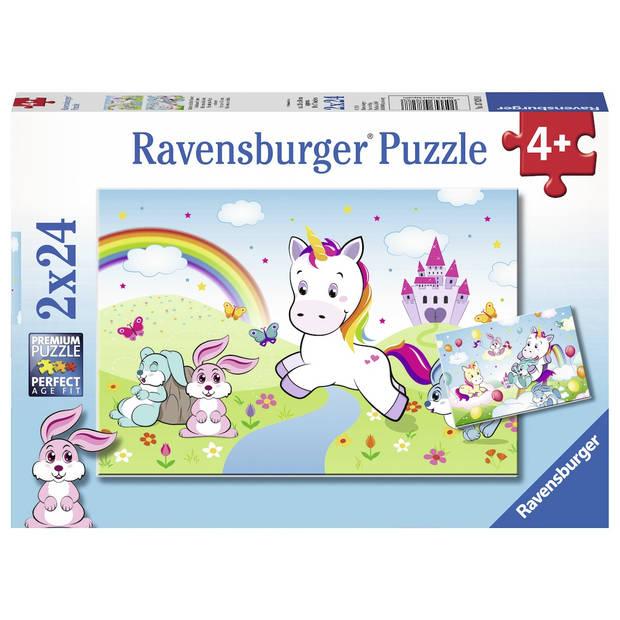 Ravensburger puzzel sprookjesachtige eenhoorn - 2 x 24 stukjes