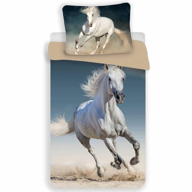 wit paard- Dekbedovertrek - Eenpersoons - 140 x 200 cm - Multi