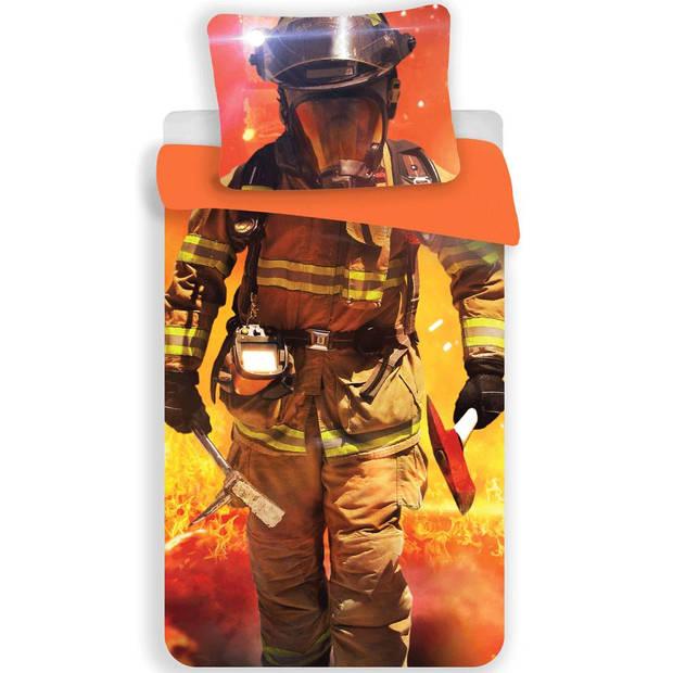 Brandweerman - Dekbedovertrek - Eenpersoons - 140 x 200 cm - Oranje