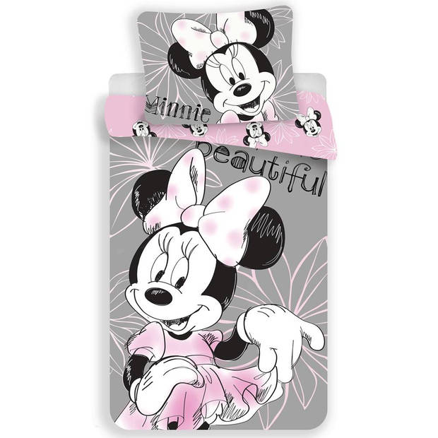 Disney Beautiful - Dekbedovertrek - Eenpersoons - 140 x 200 cm - Grijs, Roze