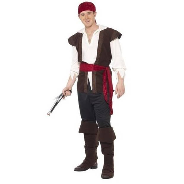Zwart/wit/rood piraten kostuum voor heren - verkleedkleding 56-58 (XL)