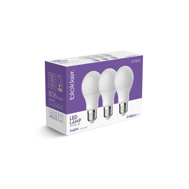 Led Bulb A60 60we27 Frosted 3pack
