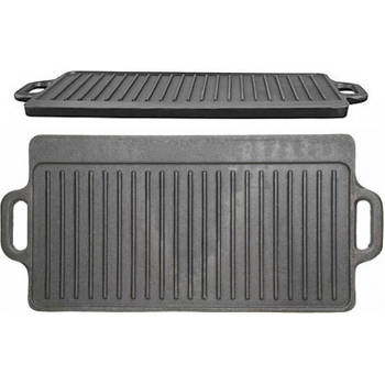 Korting Gietijzeren Grillplaat Dubbelzijdig 45cm X 23cm Kitchencraft Cast Iron