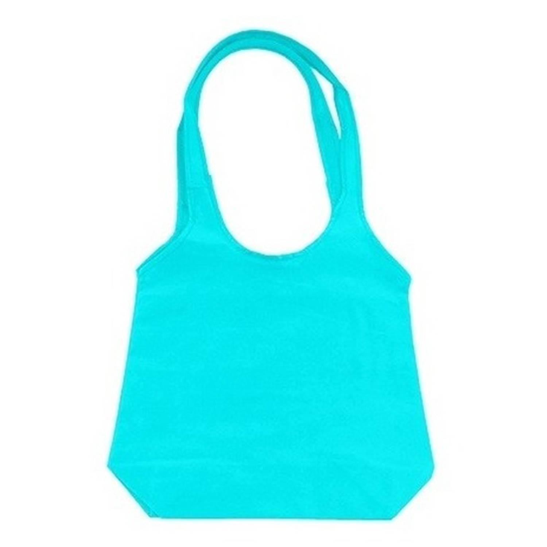 Korting Turquoise Opvouwbare Tas Met Hengsels 43 X 41 Cm Shopper