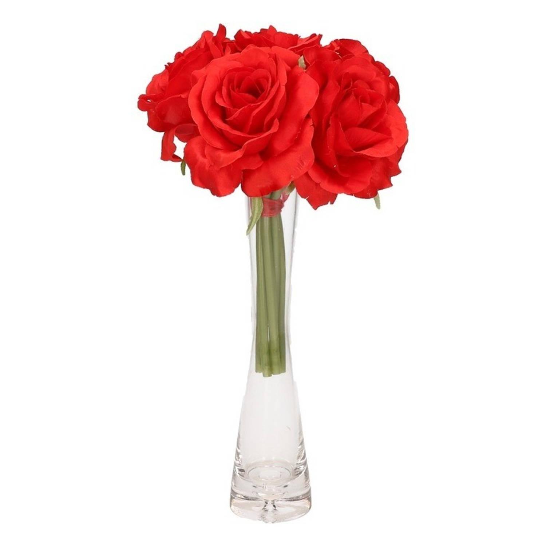 Image of Luxe boeket rode rozen met glazen vaasje 20 cm