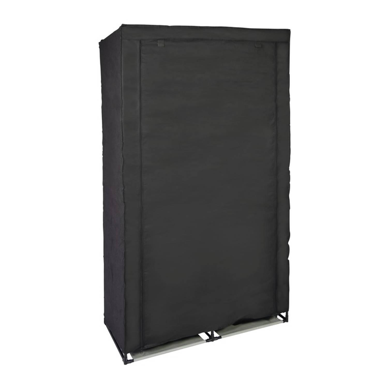 Mobiele opvouwbare kledingkast/garderobekast 169 cm zwart - Camping/zolder