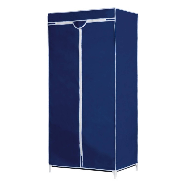 Mobiele opvouwbare kledingkast/garderobekast 160 cm blauw - Camping/zolder