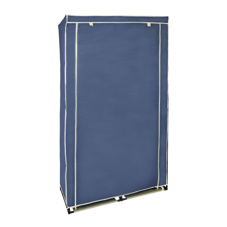 Mobiele opvouwbare kledingkast/garderobekast 169 x 88 cm blauw - Camping/zolder