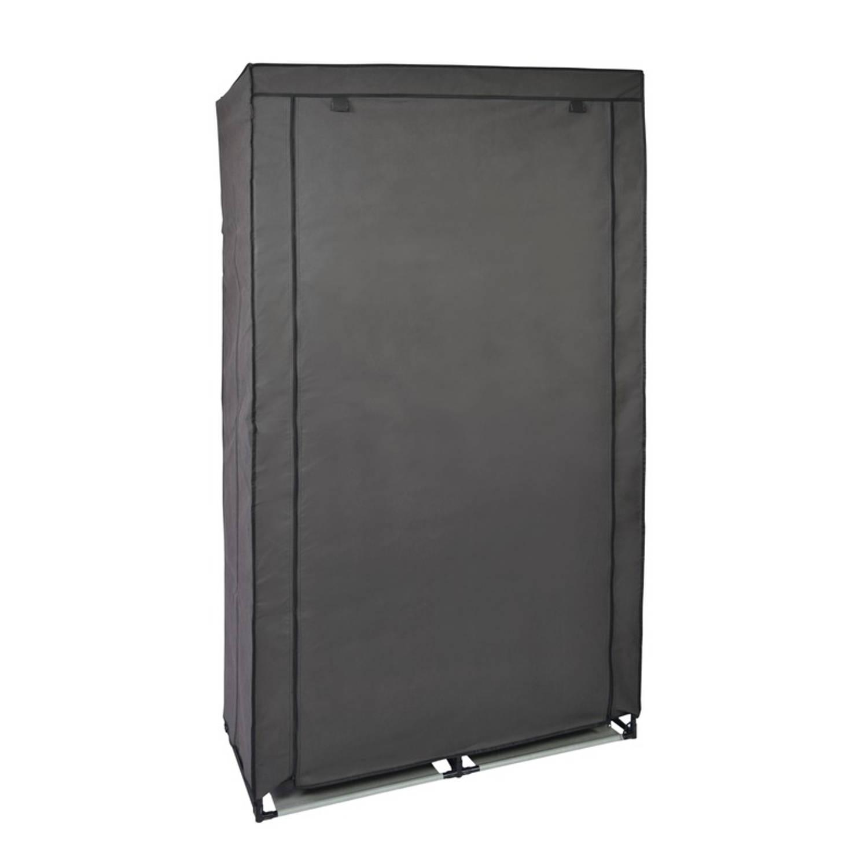 Mobiele opvouwbare kledingkast/garderobekast 169 x 88 cm grijs - Camping/zolder