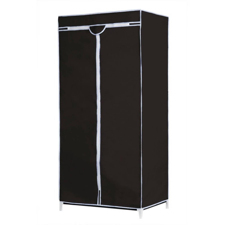 Mobiele opvouwbare kledingkast/garderobekast 160 cm zwart - Camping/zolder