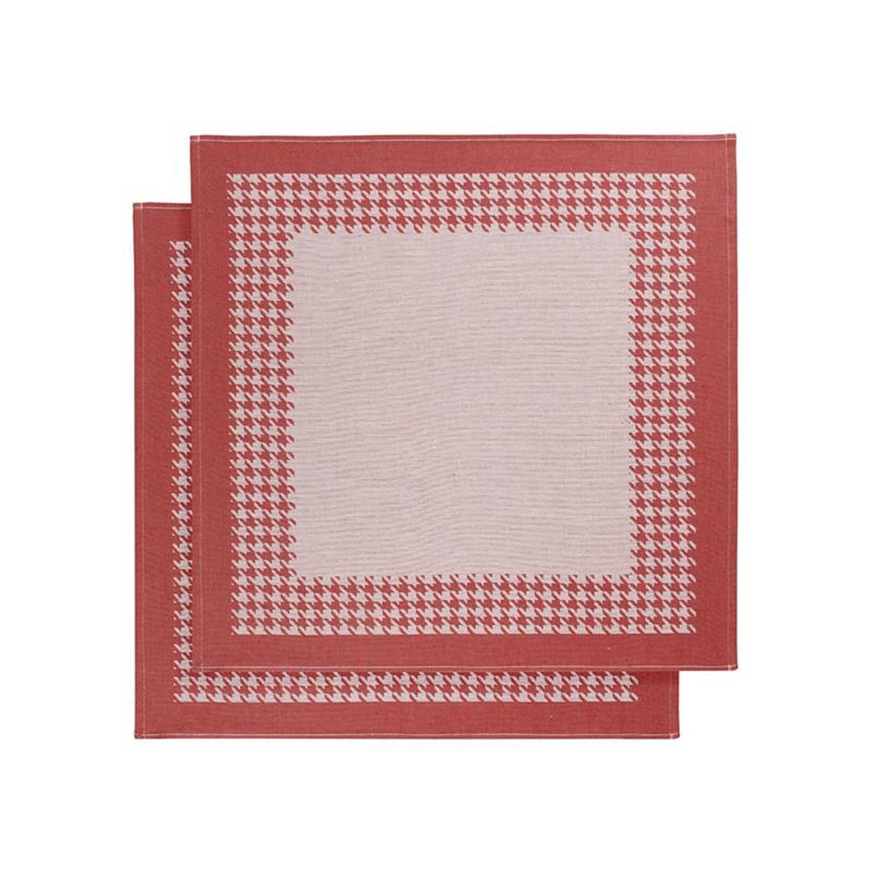 De Witte Lietaer Pied De Poule theedoek (set van 2) - Theedoek (66x66 cm) - Set van 2 - Rood