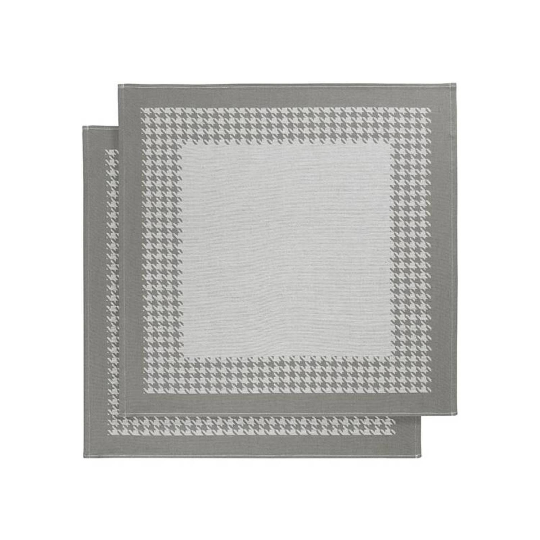 De Witte Lietaer Pied De Poule theedoek (set van 2) - Theedoek (66x66 cm) - Set van 2 - Grijs