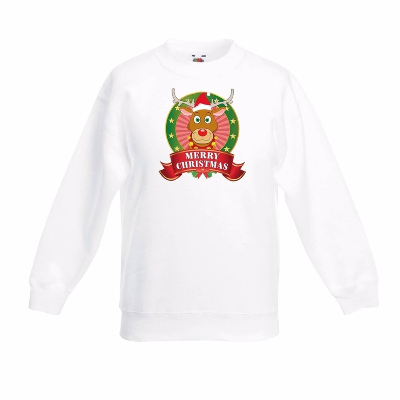 Kerst sweater voor kinderen met rendier Rudolf print - wit - jongens / meisjes sweater 5-6 jaar (110/116)