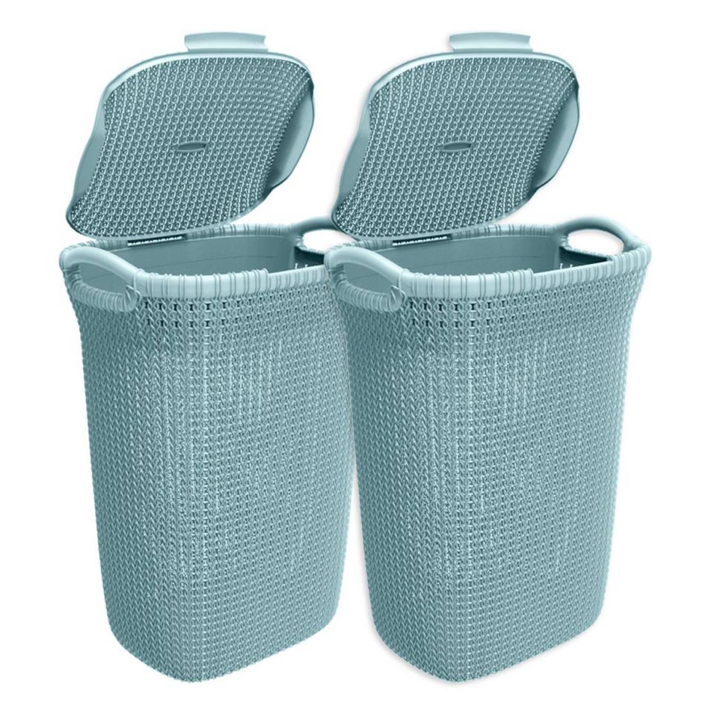 Korting Curver Knit wasbox 57 liter misty blue set van 2