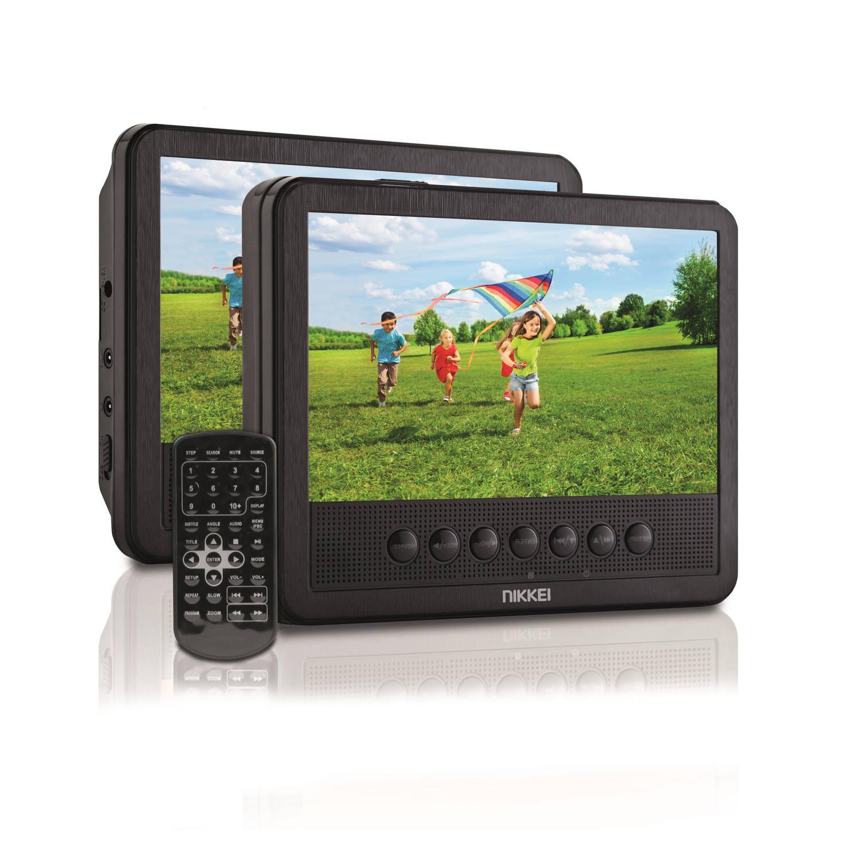 Nikkei Portable dvd spelers np710t - 2 LCD displays - 7 inch - zwart