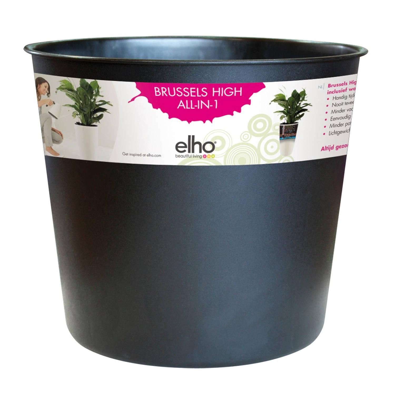 Bloempot Brussels Diamond Hoog Easy Insert 32 Cm Living Black Elho