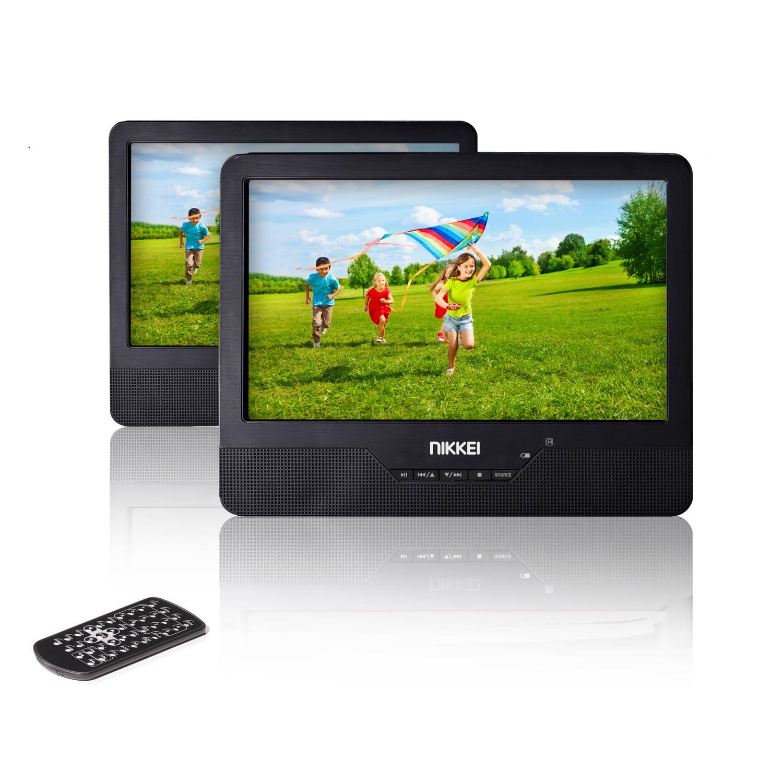 Nikkei Draagbare dvd spelers npd910t - 2 LCD displays - 9 inch - zwart