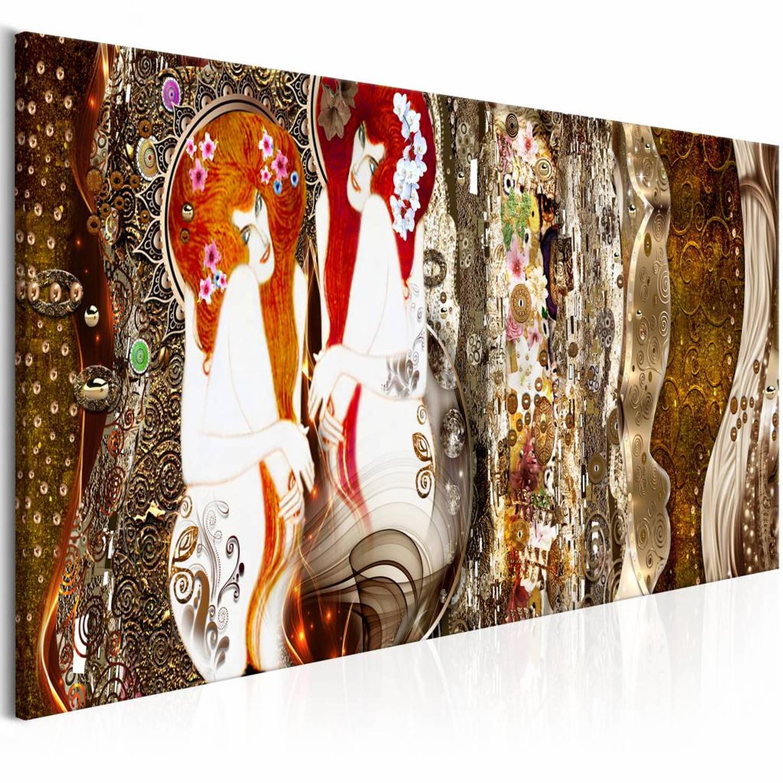 Afbeelding van Schilderij - Met bloemen in je haar - Bruin 150X50 , 1 luik