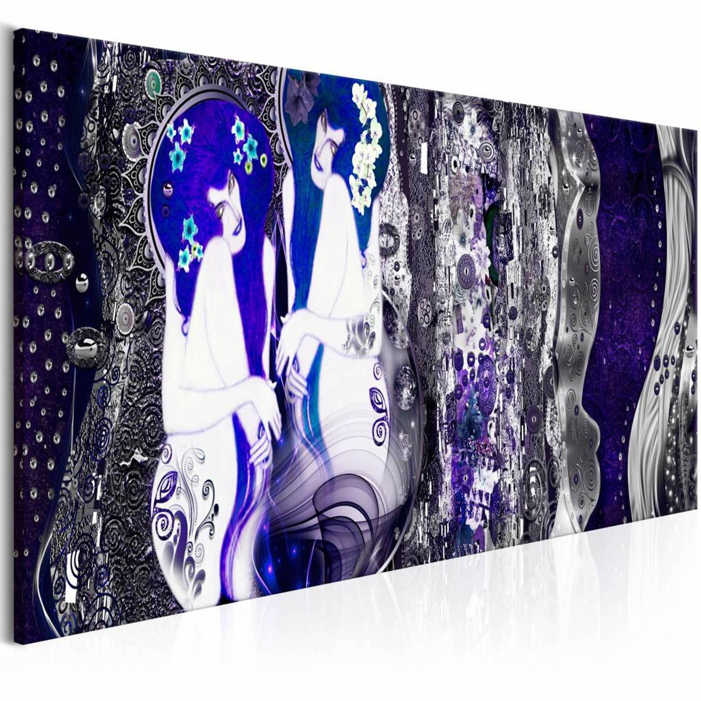 Afbeelding van Schilderij - Met bloemen in je haar - Blauw 150X50 , 1 luik