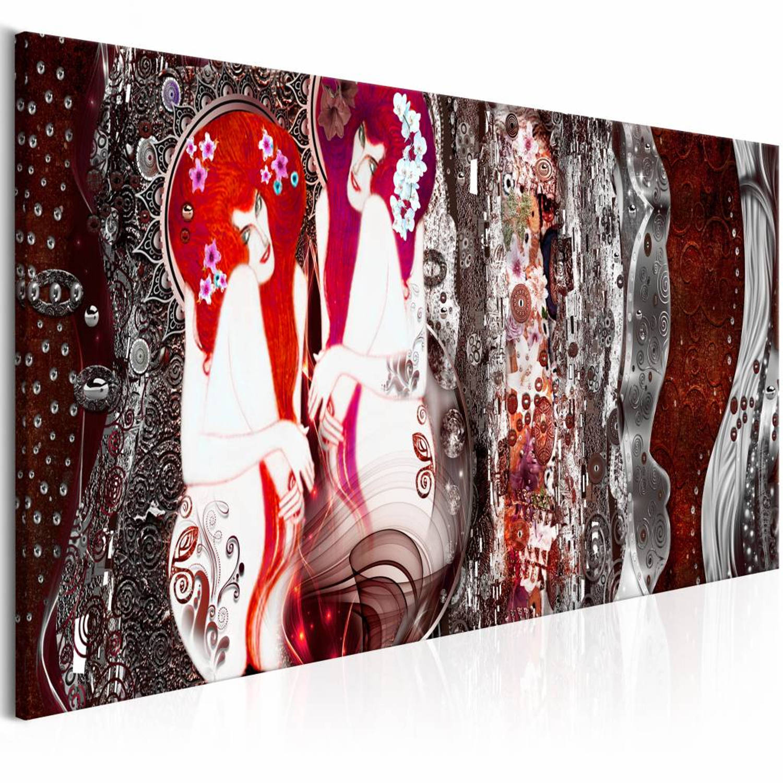 Afbeelding van Schilderij - Met bloemen in je haar - Rood 150X50 , 1 luik
